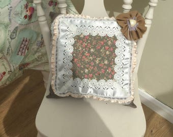 Beautiful handmade shabby chic lace trimmed square cushion