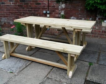 Pub Garden Wooden Timber Picnic Bench - Free Standing