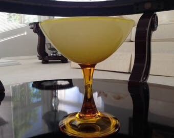 Vintage yellow/amber glass compote or bowl on pedestal