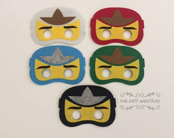 SET OF 5 Ninjago Party Masks, Ninjago Party Favors, Ninjago Birthday, Ninjago Party Decorations, Ninjago Birthday Banner,Ninjago,Ninja Party