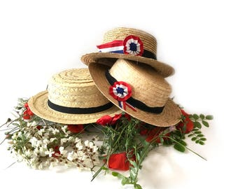 3 french Straw Boater hats. french hat. 1960's vintage hat. Straw hat with french rosette.