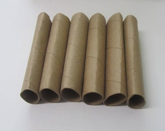 6 Heavy Duty Empty Paper towel Tubes, Craft Tubes, Brown Cardboard