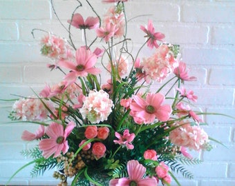 Pink Silk Flower arrangement, table centerpiece, basket flower arrangement, rustic floral centerpiece, country decor, farmhouse florals