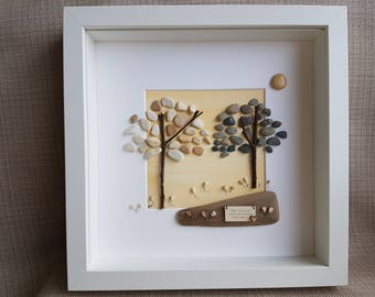 Pebble Art-Pebble Picture-Pebble Art Idea-Pebble Gift-Pebble Trees-Pebble Flowers- Driftwood- Twigs- Love Heart-Unique Present- Wall Art