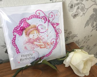 Handmade girls birthday card