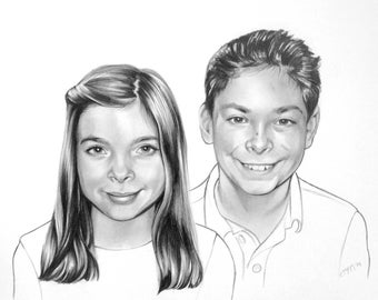 Graphite Siblings Portrait (2 people)