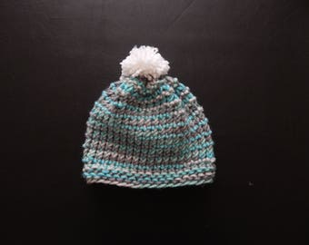 Handmade knit baby boy hat, with a white pom pom, variety of sizes & colors, made to order