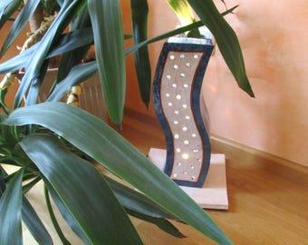 Floor lamp, floor lamp, table lamp blue beige from ceramic, Tower II, in pierced plate technology