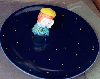 Handmade lovely ceramic plate, pottery plate