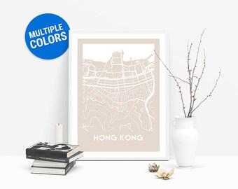 Hong Kong Full Color Map Print   Hong Kong China Map   Hong Kong Art