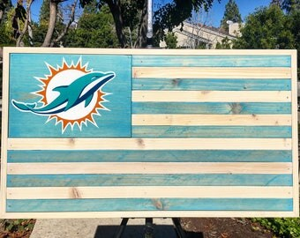 Framed Miami Dolphins wood flag - stained ( Beach Collection )