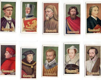 "Full set of 50 ""Celebrities of British History"" Cigarette Cards from 1935"