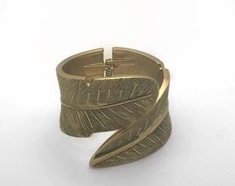 Leaf shape bracelet / Leaf shape cuff/ Matt gold plated leaf shape bracelet
