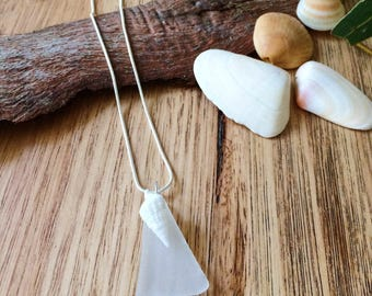 Sea Glass & Shell Sterling Silver Necklace