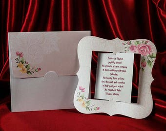 Floral Wedding Invitation Card with Beautiful Envelope, Rose Style Invitations, Personalized Printing, Free Shipping