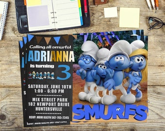 Smurfs invite, Smurfs  invitation, Smurfs Birthday invitation, Smurfs girl, Personalized, Printable, Digital invitation, Thank you card free