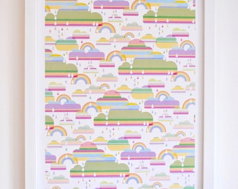 Nursery wall art, Rainbow print