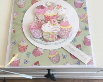 Cupcake female birthday card, decoupage