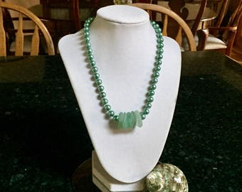 Sea Glass and Pearl Bead Necklace (Sea Foam)