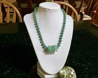 Sea Glass and Pearl Bead Necklace (Sea Foam)