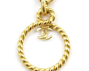 Authentic CHANEL Gold colored necklace. CC Logo necklace.