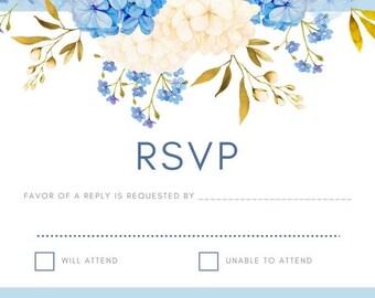 RSVP Card in Blue Floral Design