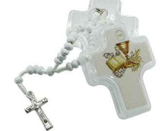 12 First Holy Communion Wooden Mini Rosaries in Plastic Cross Shape Boxes - JN231Fi