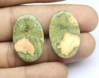 1 Pair, Approx 27Cts. 100%Natural Rayolite, Approx 17X26mm Oval Shape  Loose Gemstones Smooth Cabochon Gemstones Fine Polish Rayolite Loose