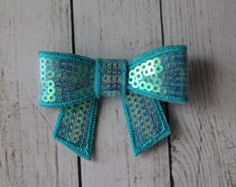 Blue Sequin Bow