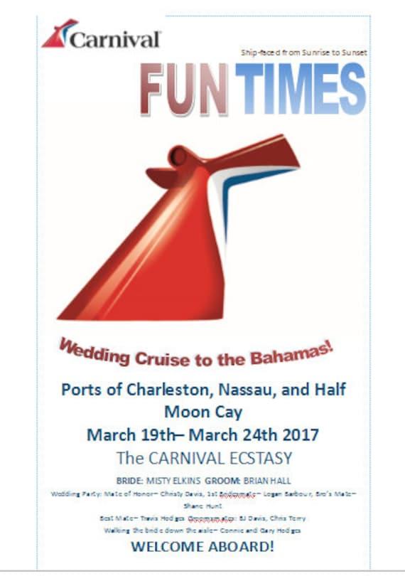 Carnival Cruise Wedding Program Template