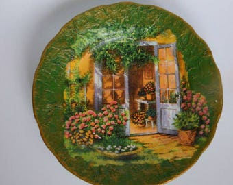 Flower Balcony, ceramic plate, decoupage plate, decorated plate, gift