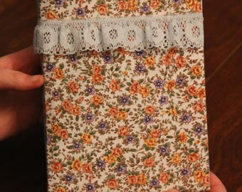 Fabric covered journal made from damaged book