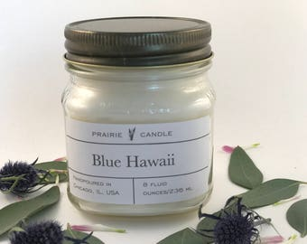 Blue Hawaii soy candle, summer candle, pineapple scented candle