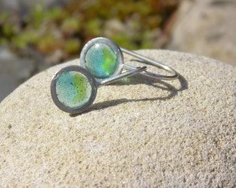 blue-green disc earrings