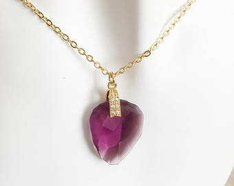 Necklace  with Swarovski Crystal Amethyst Rock