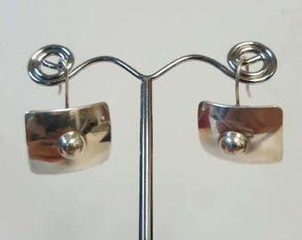 Vintage Sterling Silver Rectangular Dangling Earrings
