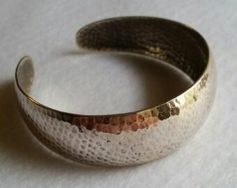 Vintage Wide Hammered Sterling Silver Cuff Bracelet