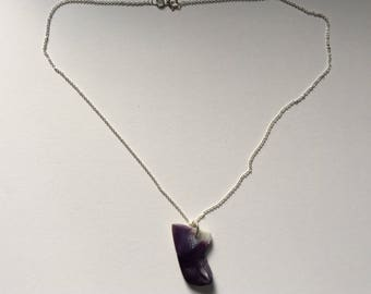 Sterling Silver Purple Shell Pendant Necklace