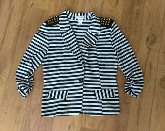 Trendy Womens Striped and Spiked Jacket