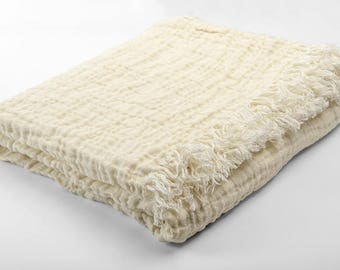 White 100% Linen Blanket/Bedspread - made in Europe - Cream Coloor - SOFTENED