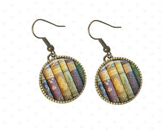 Earrings books vintage under cabochons, library. R90