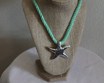 Stunning Silver Starfish Kumihimo necklace