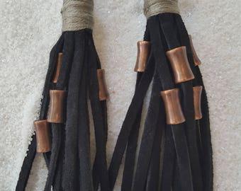 Black Suede Beaded Tassel Earrings