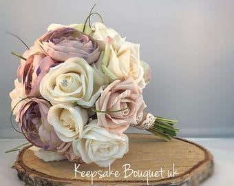 Rustic rose and peony bouquet
