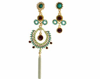 Big Crystal and Rhinestones Earrings, earrings of crystals, Gold, Chain, Cross, Green, Blue, Trend, Jewelry, Handmade, Long, Color
