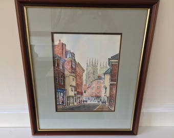 Original watercolour by Alan Stuttle - 'York Minster From Peter Gate'
