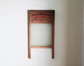 Vintage Glass Washboard National Washboard Co