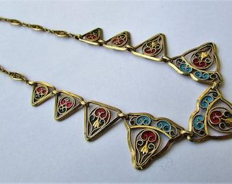 Vintage Necklace filigree gold plated metal