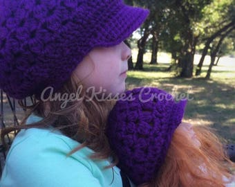 doll and me clothing, matching doll and girl, newsboy cap, 18 inch doll accessory, crochet newsboy hats, brimmed beanie, brim hat, slouchy