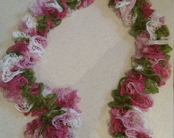 Knitted Ruffle Scarf - Pink, Green, and White